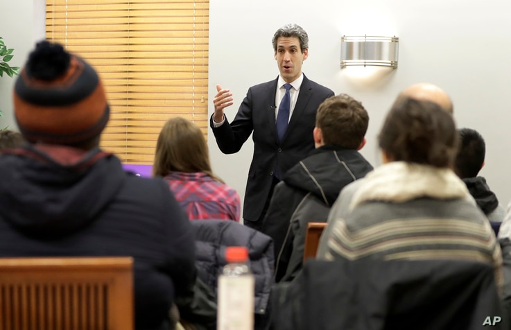 Democratic gubernatorial candidate, Illinois Sen. Daniel Biss, addresses voters during a campaign stop on the campus of the Elmhurst College in Elmhurst, Illinois, Feb. 5, 2018.