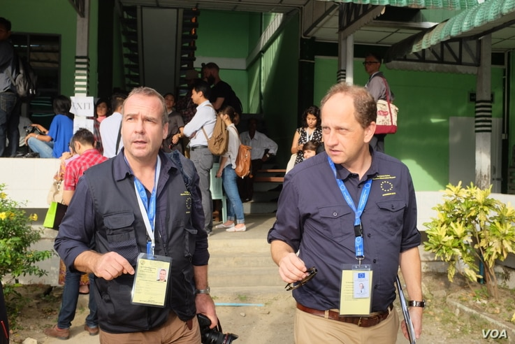 Election observers from the European Union at a polling station in Yangon, Myanmar, Nov. 8, 2015.