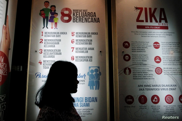 A woman stands near a poster explaining the Zika virus at the Ministry of Health office in Jakarta, Indonesia, Sept. 2, 2016.
