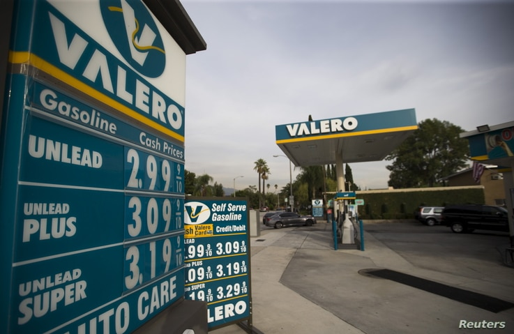 The prices at a Valero Energy Corp gas station are pictured in Pasadena, California, on Oct. 27, 2015.