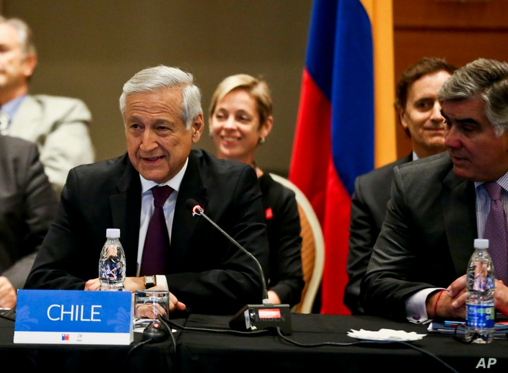 Chile's Foreign Affairs Minister Heraldo Munoz, talks during a meeting with representatives from Peru, Colombia, and Mexico in Vina del Mar, Chile, March 14, 2017.