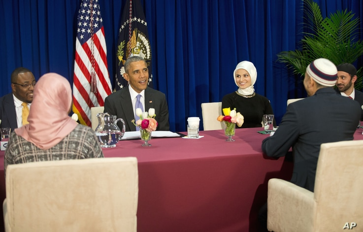 President Barack Obama meets with members of Muslim-American community at the Islamic Society of Baltimore, Feb. 3, 2016, in Baltimore, Md.