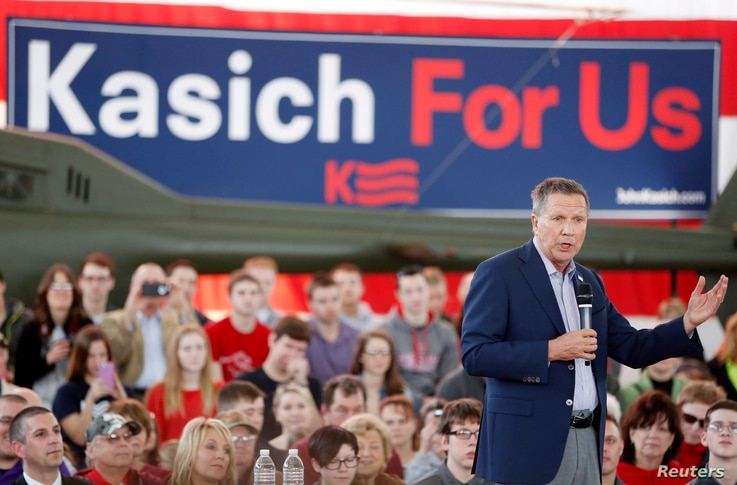 Republican U.S. presidential candidate Gov. John Kasich (R-OH) speaks at a campaign rally at the MAPS Air Museum in North Canton, Ohio, March 14, 2016.