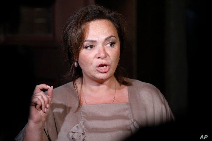 Kremlin-linked lawyer Natalia Veselnitskaya speaks to journalists in Moscow, Russia, July 11, 2017.
