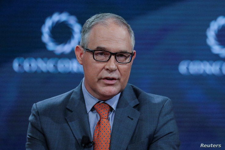 Scott Pruitt,Administrator of the U.S. Environmental Protection Agency, answers a question during the Concordia Summit in Manhattan, New York, U.S.,