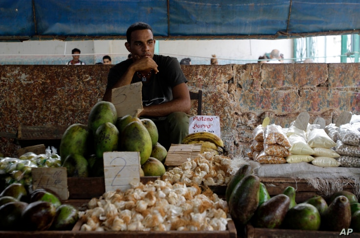 FILE - A food vendor sits by his goods at a popular market in Havana, Cuba, Aug. 27, 2010.