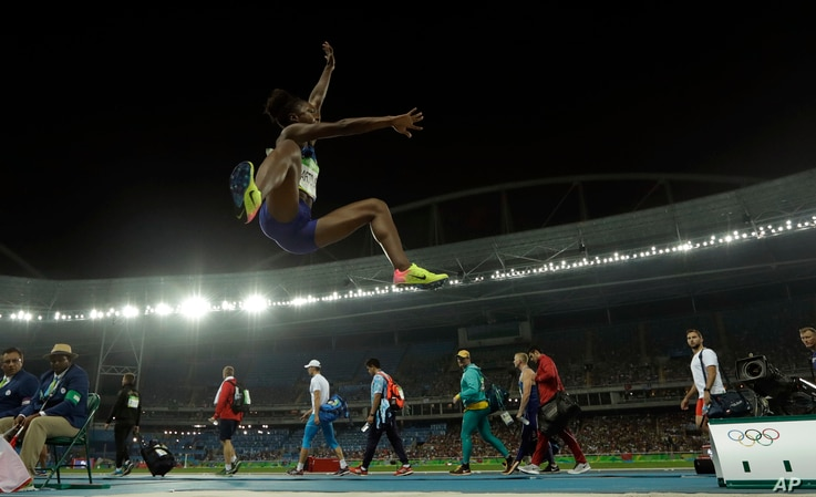 United States' Tianna Bartoletta in action during the women's long jump final, during the athletics competitions of the 2016 Summer Olympics at the Olympic stadium in Rio de Janeiro, Brazil, Wednesday, Aug. 17, 2016.