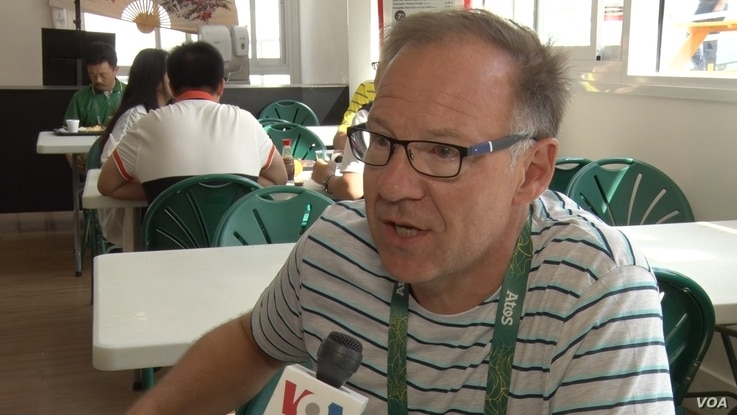 Dirk Gerlo is a Belgian radio and TV reporter who has covered eight Olympics. (P. Brewer/VOA)