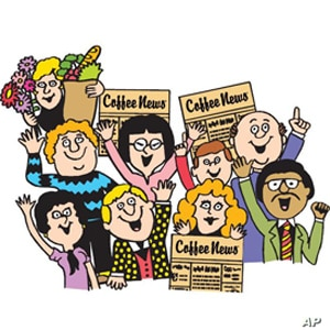 Want some froth with your coffee? Coffee News's logo conveys its cheery contents.