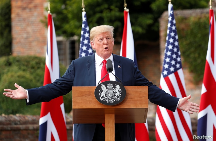 U.S. President Donald Trump speaks as he and British Prime Minister Theresa May hold a press conference after their meeting at Chequers in Buckinghamshire, Britain July 13, 2018.