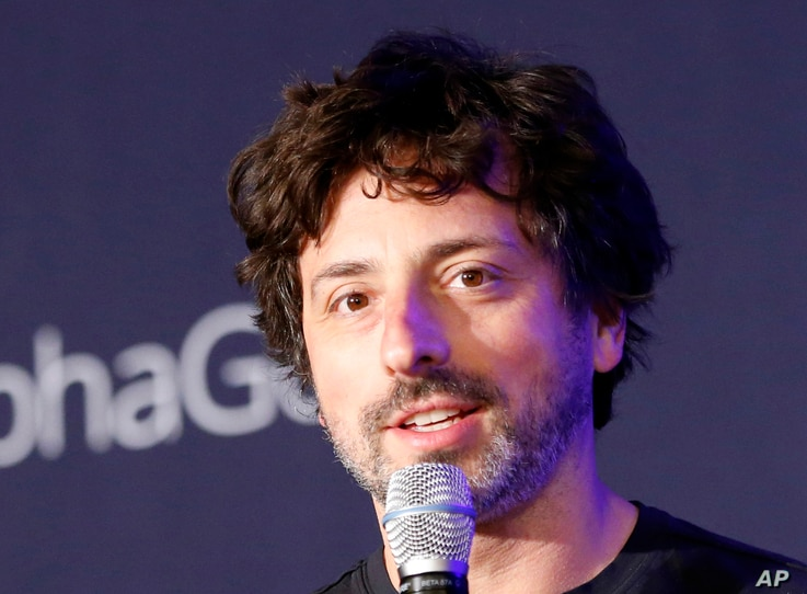 Google co-founder Sergey Brin speaks during a press conference in Seoul, South Korea, March 12, 2016. Brin joined the demonstrators over the weekend at San Francisco International Airport protesting President Trump's travel restrictions.