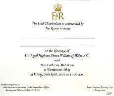 An invitation card for the wedding of Prince William and Kate Middleton is seen at Buckingham Palace in London