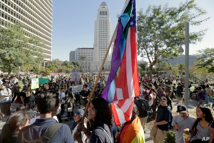 East Los Angeles high school students protest against the election of President-elect Donald Trump downtown Los Angeles, Nov. 14, 2016.
