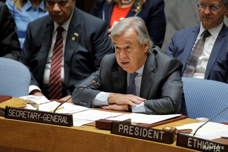 FILE - U.N. Secretary-General Antonio Guterres speaks during a meeting of the Security Council to discuss peacekeeping operations, at U.N. headquarters in New York, Sept. 20, 2017. Guterres on Sept. 25, 2018, said at a high-level meeting on peacekeep