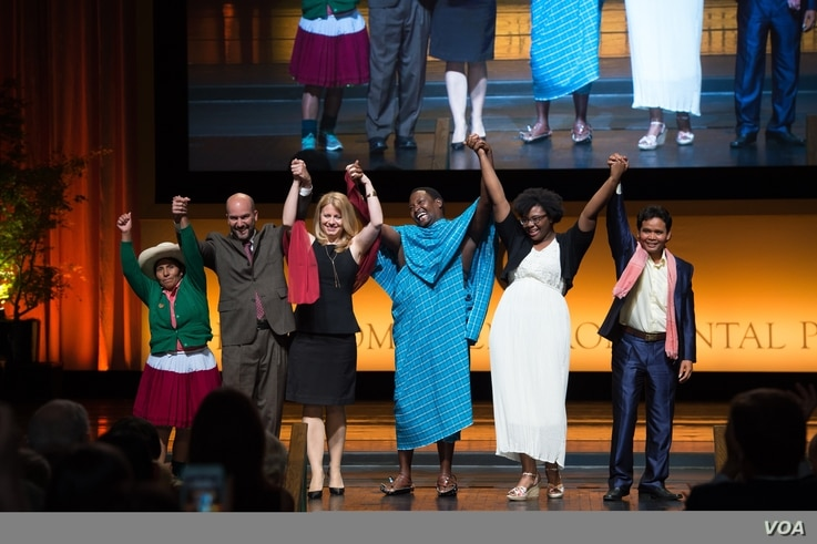 The six Goldman Environmental Prize winners, from left, Maxima Acuna for South and Central America; Luis Herrera for Island Nations; Zuzana Caputova for Europe; Edward Loure for Africa; Destiny Watford for North America; and Leng Ouch for Asia, were ...