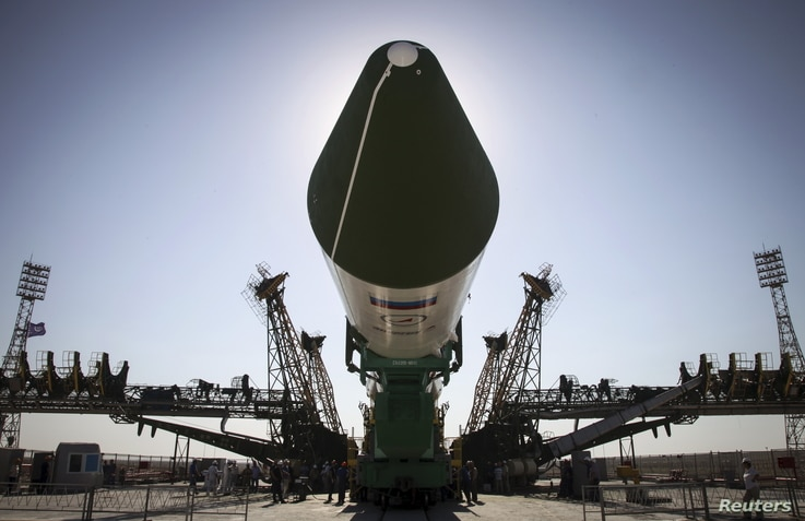 The Russian Progress-M spacecraft is ready to be lifted on its launch pad at Baikonur cosmodrome, Kazakhstan, July 1, 2015. An unmanned SpaceX rocket exploded about two minutes after liftoff from Florida on Sunday, destroying a cargo ship bound for t...