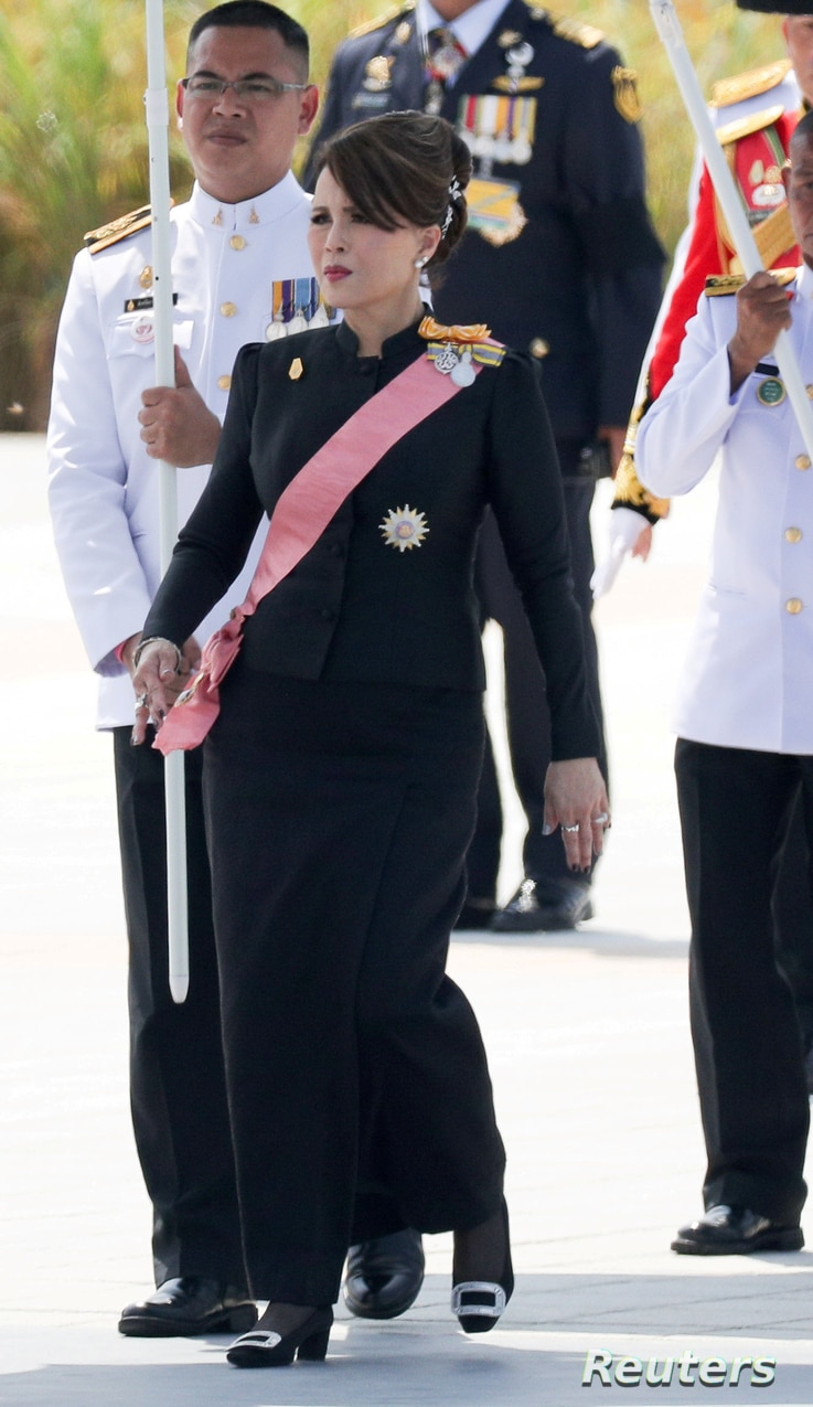 FILE - Thailand's Princesses Ubolratana Rajakanya attends a procession to transfer the royal relics and ashes of Thailand's late King Bhumibol Adulyadej from the crematorium to the Grand Palace in Bangkok, Oct. 27, 2017.