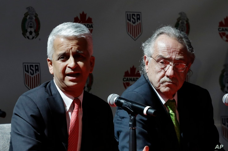 Sunil Gulati, left, President of the United States Soccer Federation, and Decio de Maria, President of the Mexican Football Federation, hold a news conference, April 10, 2017, in New York. The U.S., Mexico and Canada announced a joint bid for the 202...