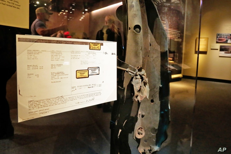 A piece of the rented van, and rental agreement, that began leading investigators to Muslim extremists who sought to punish the United States for its Middle East policies, according to prosecutors, in the 1993 attack at the World Trade Center, are di...