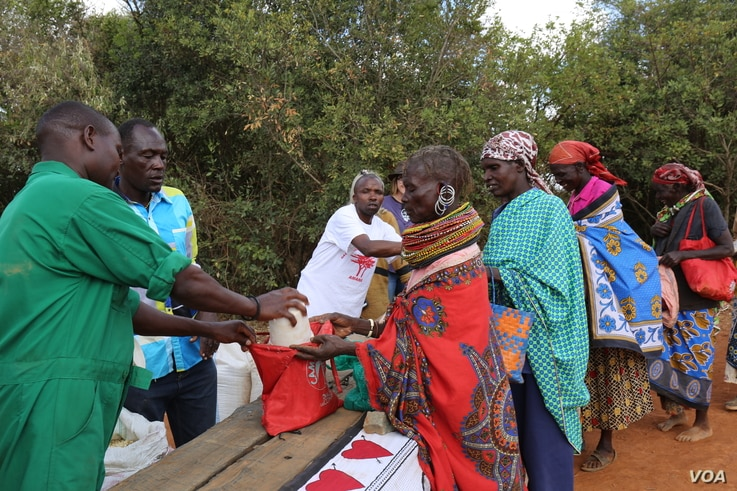 Village women collect food donations from the Laikipia Nature Conservancy in Kenya, where owner Kuki Gallmann distributes staple foods and water to help her neighbors get through the drought, March 19, 2017. (Amos Wangwa/VOA)