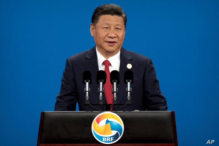 Chinese President Xi Jinping speaks during the opening ceremony of the Belt and Road Forum at the China National Convention Center in Beijing, May 14, 2017. Xi offered tens of billions of dollars for projects that are part of his signature foreign po...