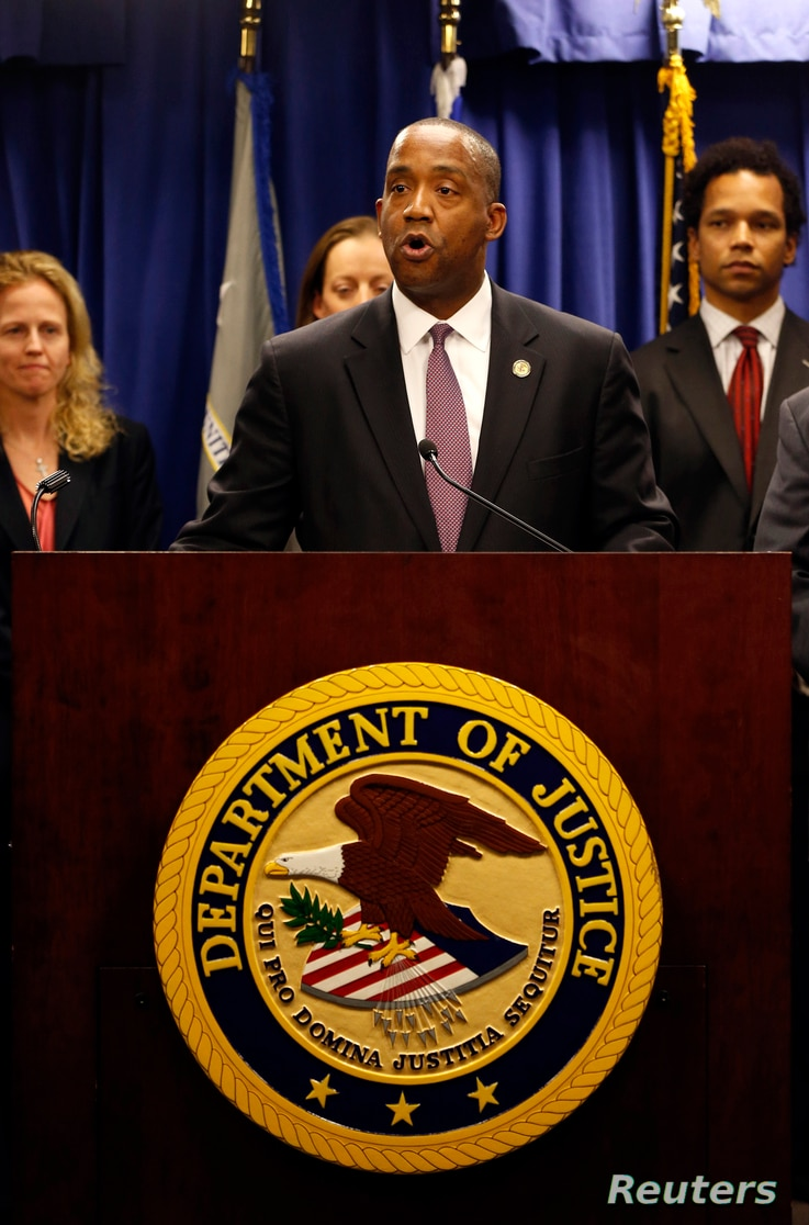 FILE - Andre Birotte Jr., formerly U.S. Attorney for the Central District of California and now a U.S. district judge, speaks at a news conference in Los Angeles, Feb. 21, 2014.
