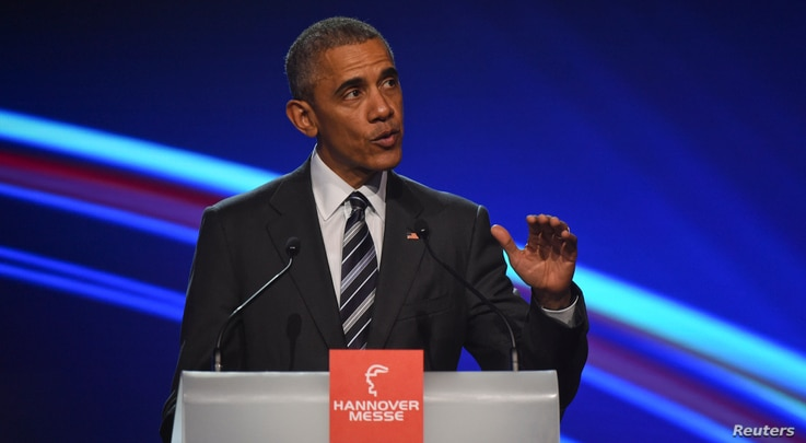U.S. President Barack Obama gestures as he makes a speach during the opening ceremony of the Hannover Messe in Hanover, Germany, April 24, 2016.