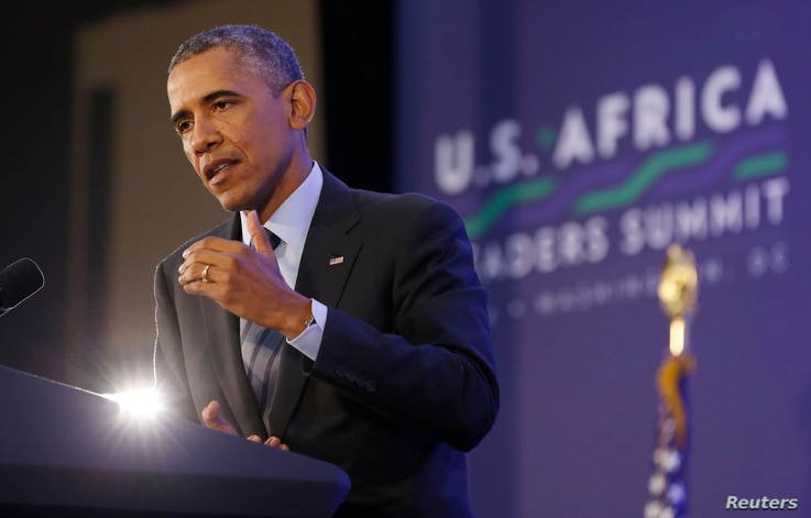 President Barack Obama speaks at a news conference at the conclusion of the U.S.-Africa Leaders Summit at the State Department in Washington, August 6, 2014.