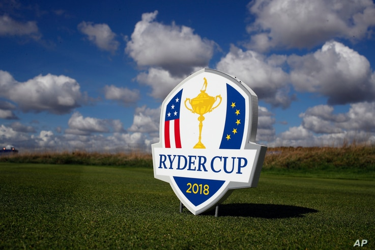 A sign of the Ryder Cup is seen on the hole 9 in Guyancourt, outside Paris, France, Sept. 24, 2018.