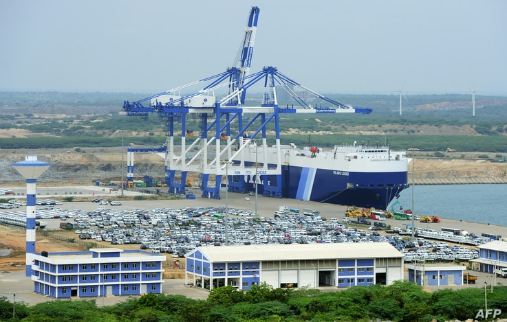 FILE - A photo taken Feb. 10, 2015, shows a general view of Sri Lanka's deep sea harbor port facilities at Hambantota.