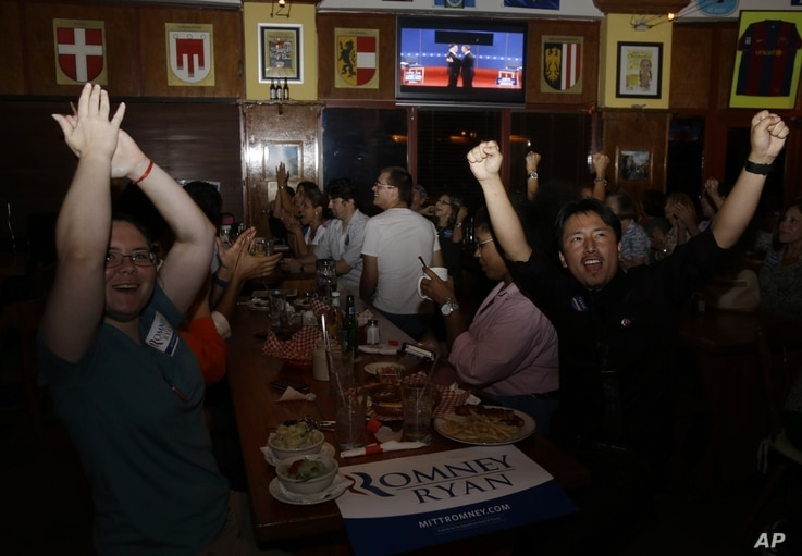 Mariella Roque, 21, of Miami, left, and Jorge Palamino, 24, of Miami, right, supporters of Republican presidential candidate Mitt Romney, cheer as they watch a televised debate between Romney and President Barack Obama in Coral Gables, Florida.