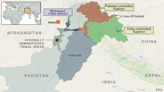 Map of Pakistan Showing Mohmand Tribal District