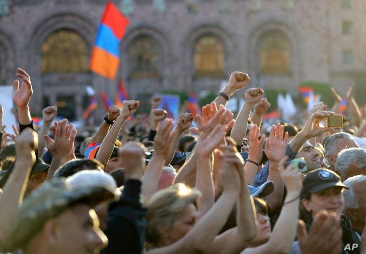 Supporters of opposition lawmaker Nikol Pashinian protest in Republic Square in Yerevan on Wednesday, May 2, 2018.