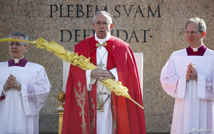 Pope Francis leads the Palm Sunday mass at Saint Peter's Square at the Vatican, March 20, 2016.