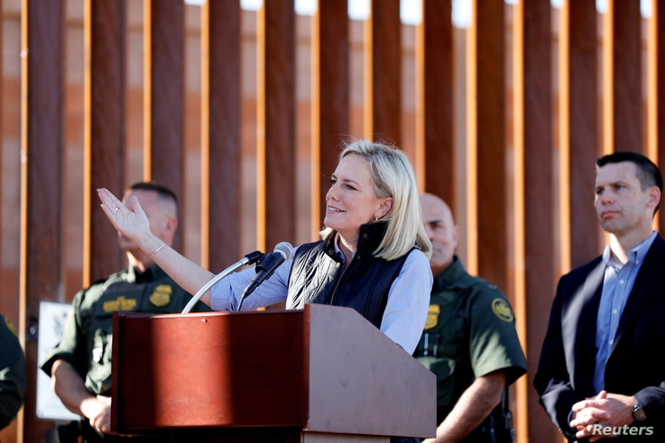 U.S. Department of Homeland Security Secretary Kirstjen Nielsen visits U.S. President Donald Trump's border wall in the El Centro Sector in Calexico, California, Oct. 26, 2018.
