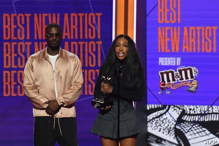 SZA receives the award for Best New Artist during the BET Awards at Microsoft Theatre in Los Angeles, California, June 24, 2018.