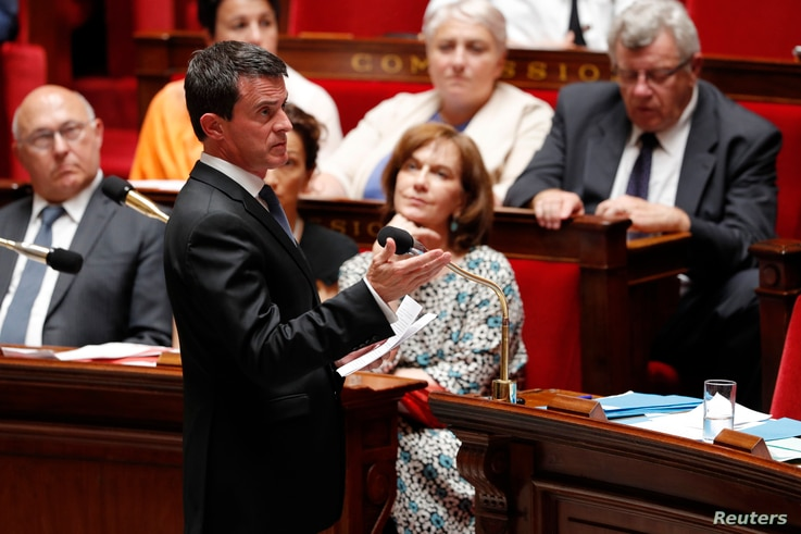 French Prime Minister Manuel Valls speaks during the questions to the government session at the National Assembly in Paris, July 20, 2016.