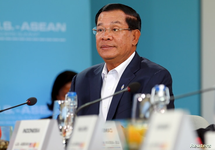 Hun Sen, Prime Minister of Cambodia listens to U.S. President Barack Obama speak during a 10-nation Association of Southeast Asian Nations (ASEAN) summit in Rancho Mirage, California, Feb. 15, 2016.