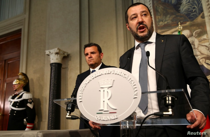 FILE - League party leader Matteo Salvini speaks to the media at the Quirinal Palace in Rome, Italy, April 5, 2018.