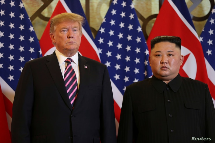 U.S. President Donald Trump and North Korean leader Kim Jong Un pose before their meeting during the second U.S.-North Korea summit at the Metropole Hotel in Hanoi, Vietnam Feb. 27, 2019.
