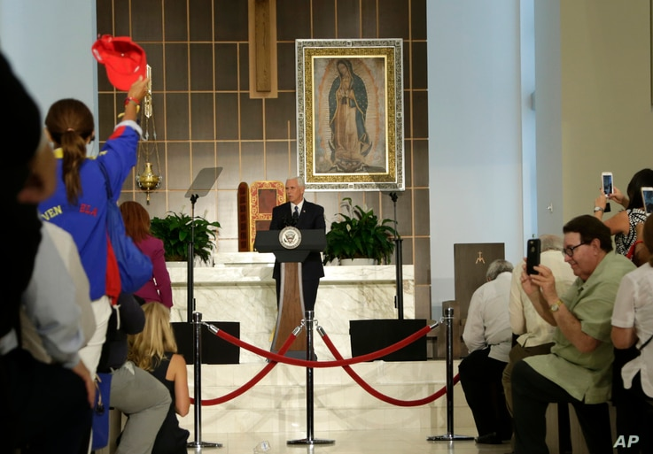 Vice President Mike Pence speaks at Our Lady of Guadalupe Catholic Church, Aug. 23, 2017, in Doral, Florida.