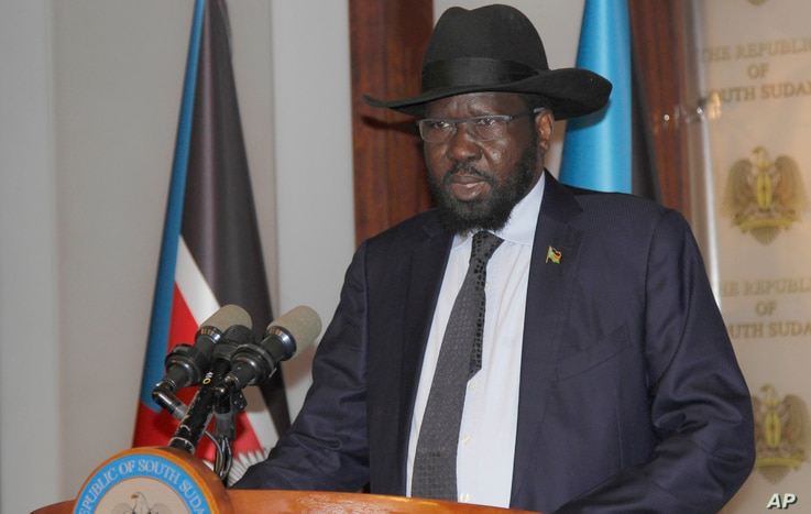 President of South Sudan Salva Kiir speaks on the occasion of the sixth anniversary of his country's independence at the presidential palace in Juba, July 9, 2017.