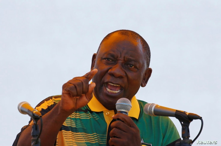 African National Congress (ANC) President Cyril Ramaphosa addresses supporters during the Congress' 106th anniversary celebrations, in East London, South Africa, Jan. 13, 2018.
