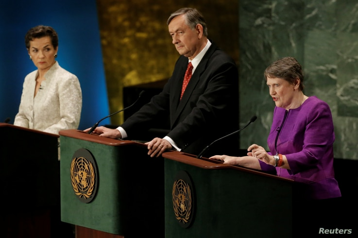 Former New Zealand Prime Minister Helen Clark (R) speaks during a debate in the United Nations General Assembly between candidates vying to be the next U.N. Secretary General at U.N. headquarters in Manhattan, New York, July 12, 2016.