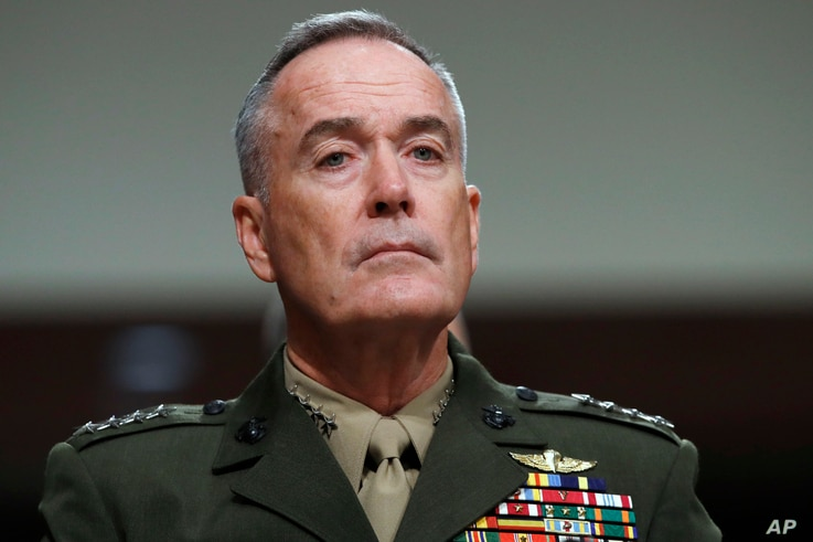 Joint Chiefs Chairman Gen. Joseph Dunford listens on Capitol Hill in Washington, June 13, 2017, while testifying before during a Senate Armed Services Committee hearing on the defense department's budget.