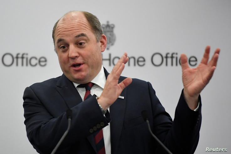 FILE - Britain's security minister, Ben Wallace, speaks at the International Security Expo, in London, Britain, Nov. 29, 2018.