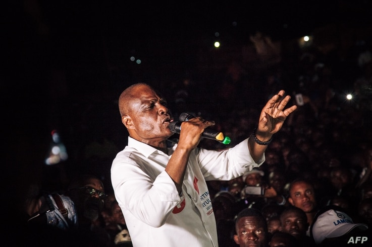Democratic Republic of Congo joint opposition presidential candidate Martin Fayulu delivers a speech in front of his supporters in Beni, Dec. 5, 2018.