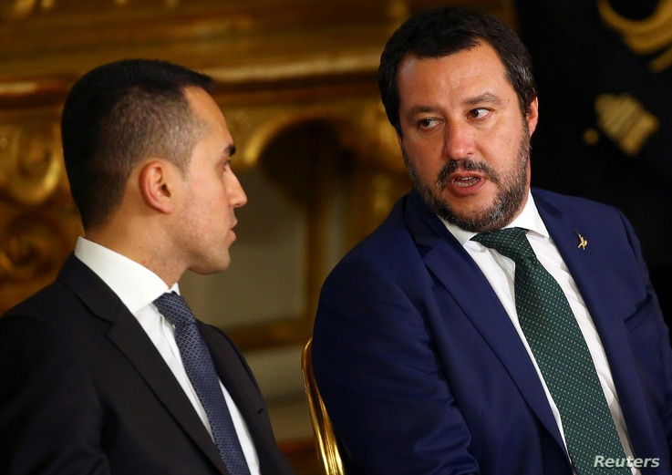 FILE PHOTO: Interior Minister Matteo Salvini talks with Italy's Minister of Labor and Industry Luigi Di Maio at the Quirinal palace in Rome, Italy, June 1, 2018.