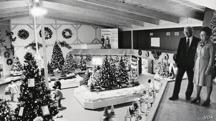 Wally Bronner and his wife, Irene, look over the holiday display at their CHRISTmas Wonderland store in the late 1940's. (Courtesy Bronner's)