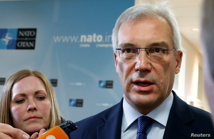 Russian ambassador to NATO Alexander Grushko speaks after a NATO-Russia Council at the Alliance's headquarters in Brussels, Belgium, April 20, 2016.